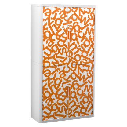 "Paperflow easyOffice Storage Cabinet, 80"" Tall with Four Shelves, Orange Alphabet"