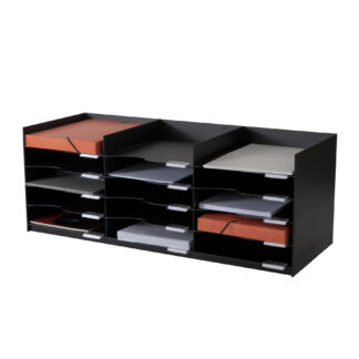 "Paperflow easyOffice Stackable Horizontal Organizer, 33-3/4"" W, Black"