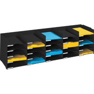 "Paperflow Stackable Horizontal Organizer, 44"" W, Black"