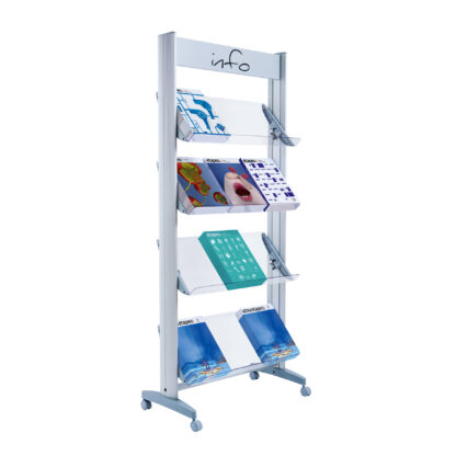 "Paperflow Single Sided ""L"" Literature Display, Acrylic Shelves"