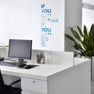 "Paperflow Office Deco Wall Transfers, If you can dream it… 9"" x 21"""