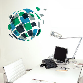 "Paperflow Office Deco Wall Transfers, Square Globe 20.5"" x 18"""