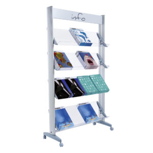"Paperflow Single Sided ""XL"" Literature Display, Acrylic Shelves"