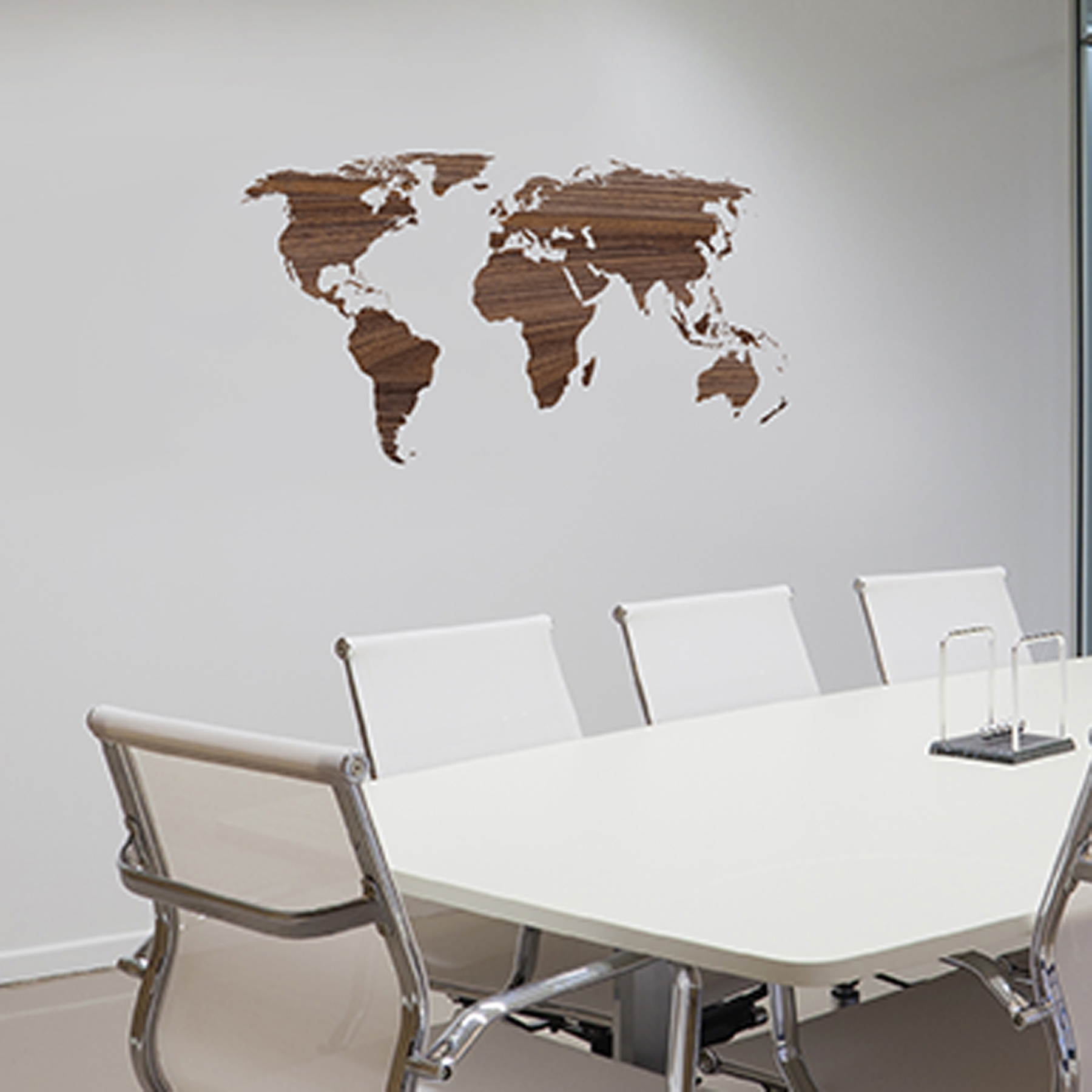 office wall art. Paperflow Office Deco Wall Transfers, Wooden Worldmap 43\u2033 X 21\u2033 Art
