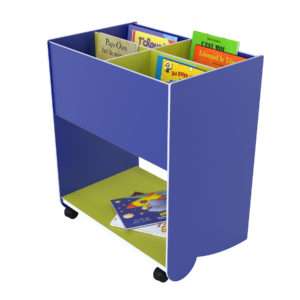 "Paperflow Mobile Floor ""L"" 4 Section Book Browser Blue/Green"