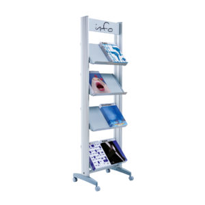 "Paperflow Single Sided ""M"" Literature Display, Metal Shelves"