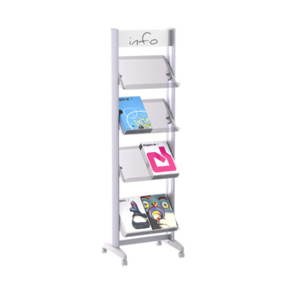 """Paperflow Single Sided """"M"""" Literature Display, Acrylic Shelves"""