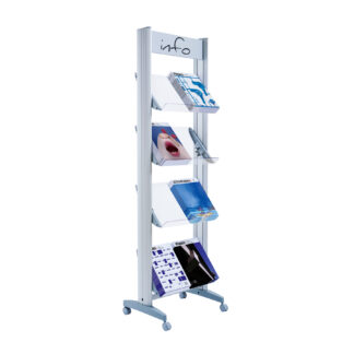 "Paperflow Single Sided ""M"" Literature Display, Acrylic Shelves"
