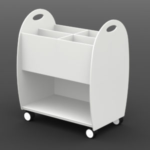 "Paperflow Mobile Floor ""XL"" 4 Section Multi-functional Organizer Cart White"