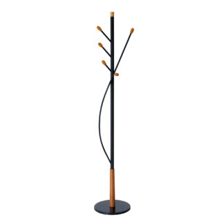 FLORAL Coat Rack/Stand with Five Pegs, Black/Cherry Wood